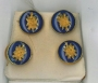 OSM Shirt Studs set of 4 - Purple & Gold