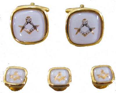 Code N/WHITEL&S - CUFF LINKS & STUD - WHITE