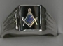 CODE 1/426SC547 - SOLID STERLING SILVER RING - MASONIC EMPLEM ON