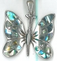 G/1019 STERLING SILVER PAUA SHELL BUTTERFLY